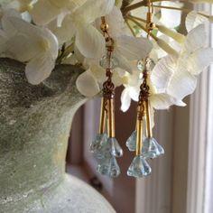 Light blue czech glass flower dangle earrings by kimberlyddesigns, $25.00