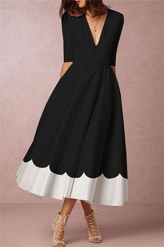 3a4bd0f0e5 Half Sleeve V-Neck Fashion Asymmetrical Women s A-Line Dress