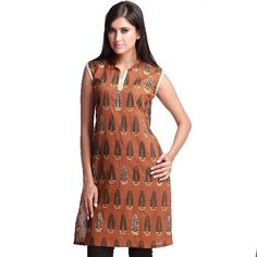 Exotic Block Print Kurta with Zari Embroidery - 10030LLK1012 -  Rs. 875 - Ships: Within 5-6 Business Days #Embroidery #Samaan