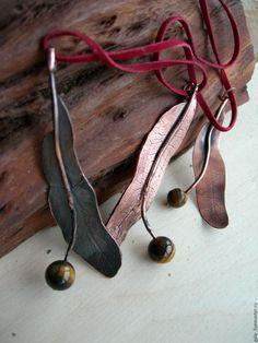 Copper jewelry set  / Кулоны, подвески ручной работы. Ярмарка Мастеров - ручная работа. Купить липовй цвет. Handmade. Золотой, медь листовая, кулон