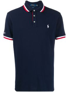 Navy blue cotton embroidered logo polo shirt from Polo Ralph Lauren featuring a contrast embroidered logo at the chest, a striped trim, a logo patch at the sleeve, a classic polo collar, a front button placket and short sleeves. Camisa Polo, Polo Jeans, Polo T Shirts, Swag Outfits Men, Polo Ralph Lauren, Shirt Refashion, Striped Polo Shirt, Mens Clothing Styles, Men Clothes