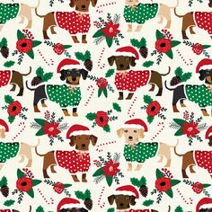 doxie christmas fabrics cute dachshunds fabric best doxie dogs xmas holiday fabrics fabric by petfriendly on Spoonflower - custom fabric