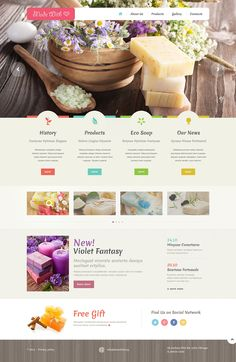 Template 48988 - Handmade Store Responsive Website Template with Carousel, Gallery, Colorful Icons One Page Website, Website Web, Food Website, Design Ios, Ecommerce Web Design, Flat Design, Graphic Design, Best Website Templates, Template Site