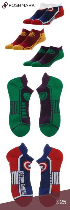 Avengers 3 Pack Men's Athletic Ankle Socks MARVEL Officially Licensed Avengers Character Socks from Bioworld.  You get 3 different pairs.  Included: Ironman, Hulk, and Captain America.  Features: - Cushioned Foot Bed - Strategic Cushioning allows for Maximum Shock Absorption.  - Arch Support - Elastic Band for Arch Support to Reduce Foot Fatigue.  Theme:  Marvel Comics - Officially Licensed Style:  Athetlic Fits Shoe Size: 8-12  Materials: 98% Polyester, 2% Spandex Brand: Bioworld  Ages 14…