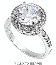 Sterling Silver Clear Round CZ Ring