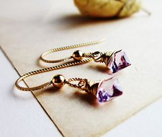 Gold Amethyst Earrings Lilac purple diamond by thelittlehappygoose,