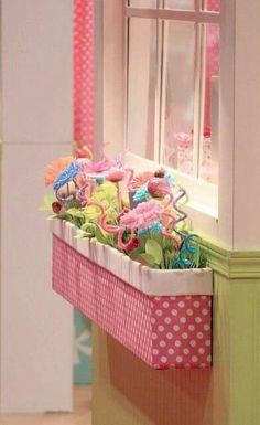 """Indoor window box with fake flowers in a little girl's room. Definitely doing this in the kid's """"house"""" area of their room! Little Girl Rooms, Little Girls, Girly Girls, Indoor Window Boxes, Window Sill, Crafts For Kids, Diy Crafts, Summer Crafts, Kids Boxing"""