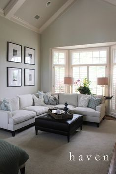 BM paint: Green walls are Revere Pewter (Walls), White Dove (Trim), Edgecomb Gray (Ceilings) Home Makeover: Family Room - Refunk My Junk Green Family Rooms, Family Room Walls, Home And Family, Vaulted Living Rooms, Home Living Room, Living Spaces, Up House, Living Room Lighting, Great Rooms