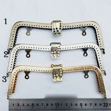DIY M shape bronze silver golden color metal purse frame clasp for bag mouth golden knurling 3pcs/lot(China (Mainland))