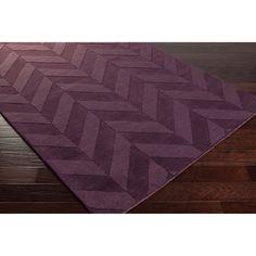 Surya Hand-Woven Tone-on-Tone Zig-Zag Wool Rug (9' x 12') (Purple-(9' x 12')), Purple, Size 9' x 12'