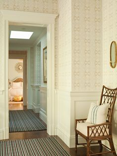 House of Turquoise: Lee Ann Thornton Home Interior, Interior Styling, Interior Design, 4 Wallpaper, Hallway Wallpaper, Classy Wallpaper, Bamboo Wallpaper, Neutral Wallpaper, Office Wallpaper