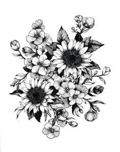 Floral flower drawing black and white illustration line beautiful flowers provided by mother nature and a pencil mightylinksfo