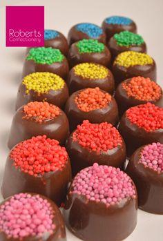 Fun & easy chocolates with Sprinkles! We've used the Roberts Confectionery Large Liqueur Chocolate Mould (number 15) with Roberts Confectionery Sprinkles.