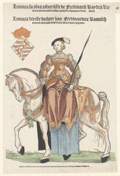Portret van Eleonora van Oostenrijk te paard, Hans Liefrinck (I), 1550 - 1552
