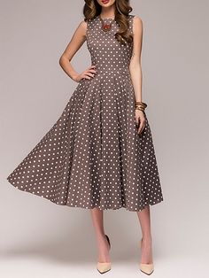 32b4025c330 Women Swing Date Sleeveless Paneled Polka Dots Dress