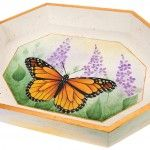 The magnificent and regal monarch butterfly is featured in a field of rich, springtime Americana Acrylic colors. Decorative painting.