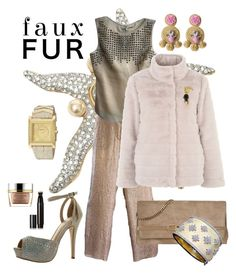 """Faux Fur Coats"" by lexuslady ❤ liked on Polyvore featuring Valentino, Giorgio Armani, Max Studio, Basler, De Blossom, Jimmy Choo, Versace, Surratt, Ricardo Rodriguez and Estée Lauder"