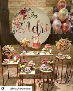 The anniversary is extra special. Check inspirations and tips for organizing a party 15 years simple and unforgettable! 15th Birthday, Diy Birthday, Birthday Parties, Birthday Decorations, Baby Shower Decorations, Wedding Decorations, Sweet 16 Parties, Its My Bday, Gold Party