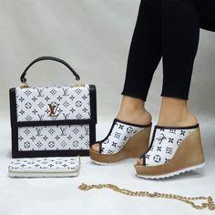 "New Fabulous ""Crazy In Love"" Glamorous Louie Wedge Sandal Handbag Wallet Set Louis Vuitton Sneakers, Gucci Sneakers, Versace Boots, Gucci Boots, Versace Men, Channel Shoes, Gucci Handbags Outlet, Prada Handbags, Handbags Online"
