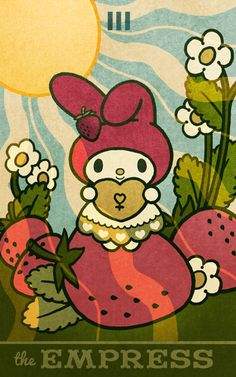 The Empress - Hello Kitty Tarot Cute Poster, Poster Wall, Poster Prints, Wall Prints, Posters, Sanrio Wallpaper, Hello Kitty Wallpaper, Hello Kitty Backgrounds, Bedroom Wall Collage
