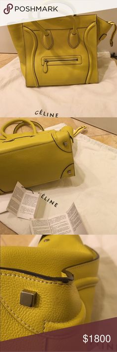 """Celine luggage Authentic. Used in very good condition. Some wear on edges and corner as photo'd. Celine Phoebe Philo Collection. Chartreuse leather Celine luggage tote with silver tone hardware. Dual top handles, exterior zip pocket at front, yellow woven interior lining with three pockets, one with zip closure. Zip closure at top. Includes dust bag, and care instructions. Approx Size: handle drop 5"""" height 12"""" width 12"""" depth 7"""" Celine Bags"""