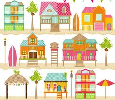 Beach Houses Cute Digital Clipart For Card Design Scrapbooking And Web Graphics