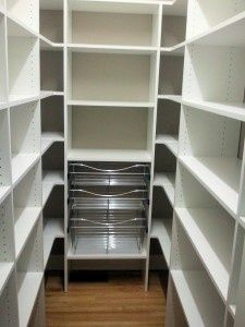 Pantry - shelves and wire baskets