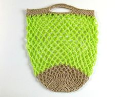 Crochet market bag in lime green - 100% organic cotton #crochet #etsy #bag #wollymary