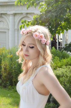 Pink flower crown, wild rose head piece, floral crown, gold berry crown, wedding headband, hair accessory