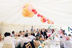 large marquee with pom poms