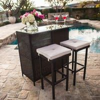SUNCROWN Outdoor Patio Bar Set Brown Wicker Furniture: Glass Bar and Two Stools with Cushions - Perfect for Patios, Backyards, Porches, Gardens or Poolside Wicker Patio Furniture, Diy Outdoor Furniture, Bar Furniture, Rustic Furniture, Antique Furniture, Furniture Stores, Luxury Furniture, Garden Furniture, Modern Furniture