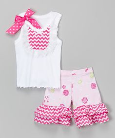 Look what I found on #zulily! Pink Roses Bib Tank & Ruffle Shorts - Infant, Toddler & Girls #zulilyfinds