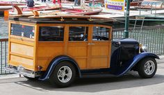 Again, this woody just looks fun! The surf boards on top (love the two-tone wood pattern) and hotrod good looks along with a great color blue makes this a favorite in my book. Classic Chevy Trucks, 67 72 Chevy Truck, New Trucks, Ford Trucks, Classic Hot Rod, Classic Cars, Autos Ford, Woody Wagon, 1932 Ford