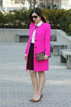 J.Crew-Pink-Coat-Burgundy-Pleated-Skirt