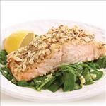 almond crusted salmon with spinach