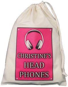 PERSONALISED - Head Phones Drawstring Storage Bag - DJ Music - PINK Personalised HEAD PHONES STORAGE BAG pink design Small Natural Cotton Drawstring