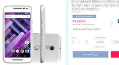"""Motorola Moto G 3ª Geração Turbo 16GB Branco 4G Tela 5"""" Câmera 13MP Android 5.1 << R$ 85405 em 10 vezes >>"""