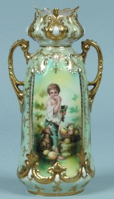 """Lot: 123: RS Prussia Vase,6""""h.; Mold 901; Figural design: Me, Lot Number: 0123, Starting Bid: $100, Auctioneer: Conestoga Auction Company Division of Hess Auction Group, Auction: Unreserved RS Prussia Auction, Date: May 14th, 2011 ADT"""