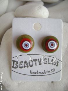Beautifull stud earrings from yellowgreen&red opal glass with Glass Earrings, Stud Earrings, Red Opal, Surgical Steel Earrings, Glass Flowers, Fused Glass, Butterfly, Yellow, Green