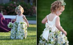 How amazing is this flower girl dress decked out in fresh roses and hydrangeas? This little one walked down the aisle in her statement dress designed by Sayles Livingston Flowers and carried a matc. Little Girl Dresses, Flower Girl Dresses, Flower Girls, Wedding Planning Tips, Pretty Outfits, Dress Making, Wedding Details, Wedding Styles, Wedding Gowns