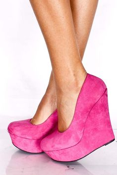 FUCHSIA FAUX SUEDE ROUND TOE WEDGE $19.99