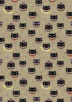 Halloween scrapbook paper - black cats