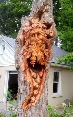 Custom Tree Art Mehr Source by steve_berns Tree Carving, Wood Carving Art, Wood Carvings, Carving Tools, Tree Faces, Wood Tree, Wooden Art, Totems, Wood Sculpture