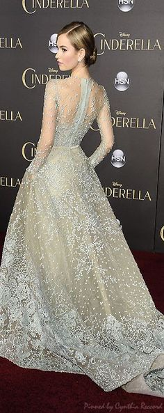 Lily James' Cinderella Premiere Dress Was Actually a Fairy Tale Come to Life | cynthia reccord