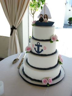 Nautical wedding cake, anchor wedding cake, cute wedding topper, boat topper, sailing topper, sugar roses, rope cake border