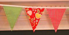 Fabric Banner - Fabric Bunting - Apple  by monkeyandlamb on Etsy