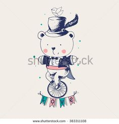 hand drawn vector illustration in vintage style.Baby Bear ridding on a bicycle. Bear gentleman/can be used as kids or baby's shirt design/textile/ fashion
