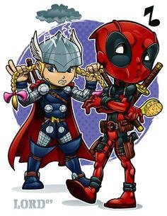 Lil Deadpool 'n' Thor by lordmesa on DeviantArt
