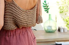 Smocking Patterns, Crochet Patterns, Crochet Crop Top, Knit Crochet, Crochet Clothes, Diy Clothes, Crop Top Pattern, Knitting Designs, Diy Fashion