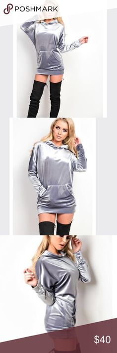 Distress Velvet Large Hoodie Dress Tee These New Arrival Long Sleeve Hoodie Dress Great for wear everyday! Its wonderful sweater great for Autumn really Warm   ---Check out my store for more fashion forward styles---  Size: Large Colors: Gray Material: Velvet Velvet Jackets & Coats